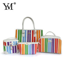 2015 Factory elegant wholesale fashion promotional luxury canvas makeup toiletry cosmetic bags set