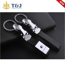 New Arrivals Jaguar Silver Plated Alloy Keyring Custom Leather Car Keychain