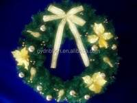 2014 plastic christmas garland/wreath door/window decoration with big butterfly bow