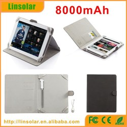 wholesale leather tablet flip case with batteri 8000mAh, new design tablet charging cover