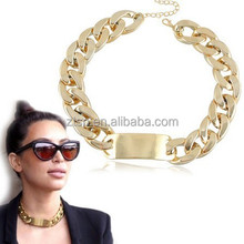 Gold and Silver Plated Women Gift Metal Bar Chunky Chain Necklace Wholesale