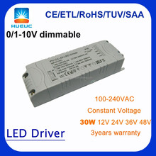 30w constant voltage 12VDC 2400mA dimmable led driver 0-10v