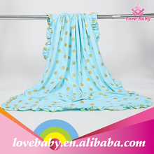 New Arrival Sweet Green with Golden Polka Dot Muslin Baby Blanket Organic Cotton