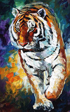 Hand Painted High Quality Tiger Knife Painting On Canvas Abstract Tiger Oil Painting For Home Handmade Wall Decor Artworks