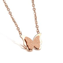 In 2015, zhejiang heaton rose gold ornaments star fashion titanium steel frosted butterfly necklace chain necklace
