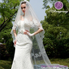 WJ01 Bridal Accessories Two-Layer White Lace Appliqued Long Scalloped Edged Wedding Veils