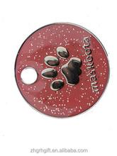 Round Paw Print Dog Tag, Zinc Alloy Metal Enamel Dog Tags