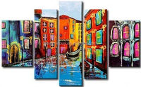 hand-painted oil wall art Venice boat building beauty home decoration Landscape Framed oil painting on canvas 5pcs/set mixorde