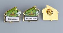 Printing epoxy company logo gold pins wholesales, brass epoxy badge pin