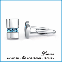 Zinc Alloy White Gold Plated Cuff-Links Made With Austrian Crystal Cufflinks Customized Custom Cufflink