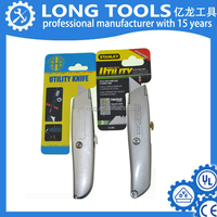 Durable stainless retractable plastic utility cutter knife