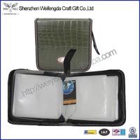 Top grade unique design handmade zipper leather dvd case