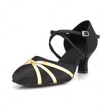 2015 exported lady satin open toe dance shoes
