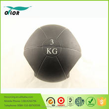 Two handles double grip black rubber 3kg medicine ball with handles