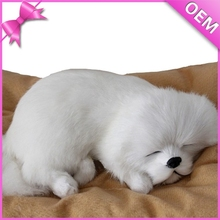 kid stuffed sleeping breathing toy,lifelike sleeping dog toy,fake fur sleeping dog