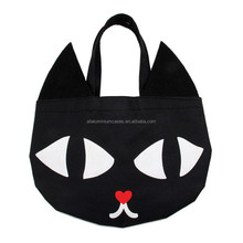 Black cat design cotton canvas shopping bag/fashion traveling bag
