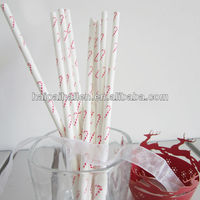 Drinking paper straws with Christmas Candy Cane design for Christmas party favors
