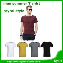 Hot sale o neck elegant cool pure men young summer cotton T-shirt short sleeve top & tee, wholesle
