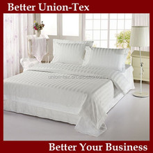 Chinese factory price 4pcs king size combed cotton 250T 3cm stripe pattern 5 star hotel quality white luxury hotel bedding set