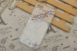 Decorate transparent cover five flower cell phone cover for iPhone