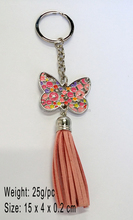 wholesale Boutique Rhinestone Pink Butterfly Key Ring with Tassel Zinc Alloy Fashion Crystal Keychain