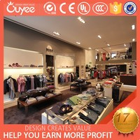 2015 wood and mdf man garment store clothes shop display with led