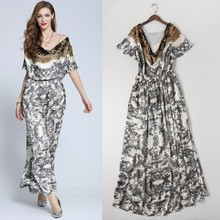 Top Quality New Arrival 2015 European Summer Long Dress Women Ruffles Collar Short Sleeve Vintage Print Silk Long Maxi Dress XL