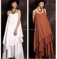 Sexy lady casual spaghetti strap long dress korea summer fashion dress 2015 summer dress for fat woman