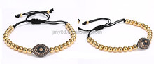 Metal Beads and Crystals Beaded Macrame Wax Cord Wrap Evil Eye Charms Bracelets