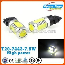 super bright COB 12V car led lights t20 w21\/5w 7443