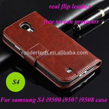 Wallet stand real leather flip cell phone case for samsung galaxy s4 sample to usa by DHL