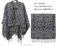 acrylic knitted pashmina accessories for women ladies fashion leopard shawl