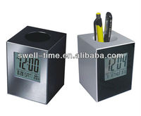 Table digital LCD clock with pen holder in low price best for promotion