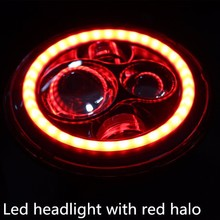 "Jeep wrangler accessories Round 7"" Led headlights with red halo rings DOT approved"