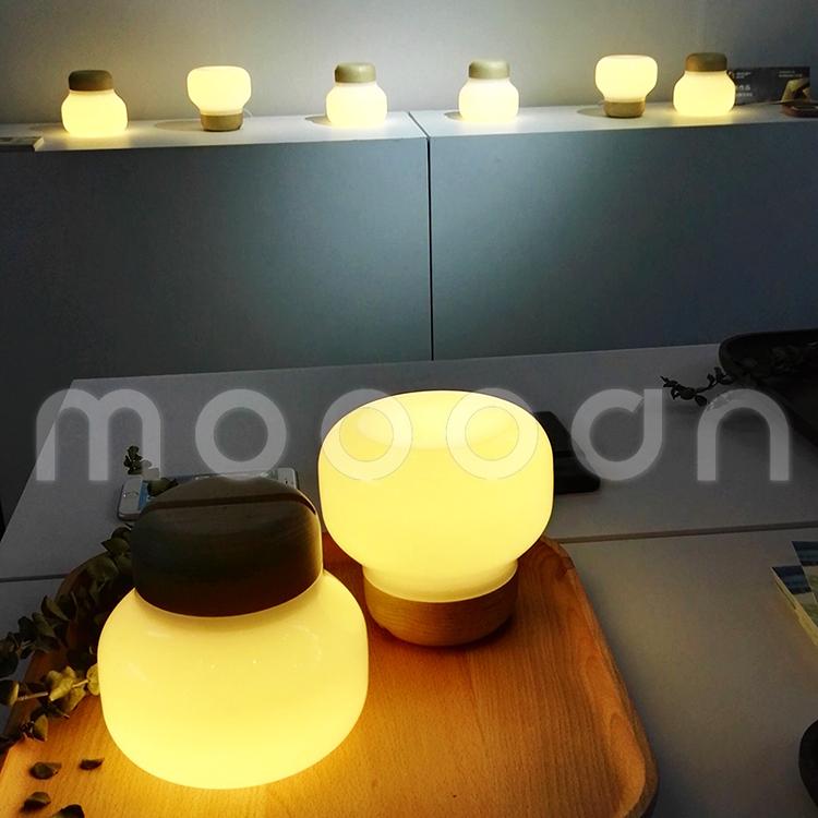 현대 스마트 홈 나무 공예 불어 흰색 유리 병 led 테이블 램프 ...