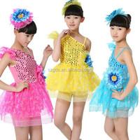 2015 New Sale girls modern shoulder guaze fashion show Latin dance Costume for kids competition