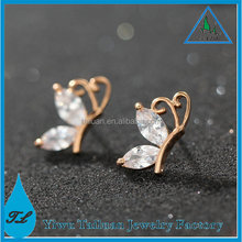 Wholesale new AAA cubic zircon 18K gold butterfly stud earrings