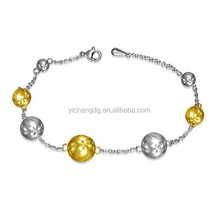 Beautiful Stainless Steel 2-tone Ball Circle Journey Link Chain Bracelet