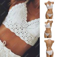 Custom design sexy halter handmade crochet tops wholesale lace crop top