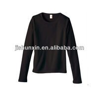 100% cotton comfortable long sleeves plain black t shirt wholesale