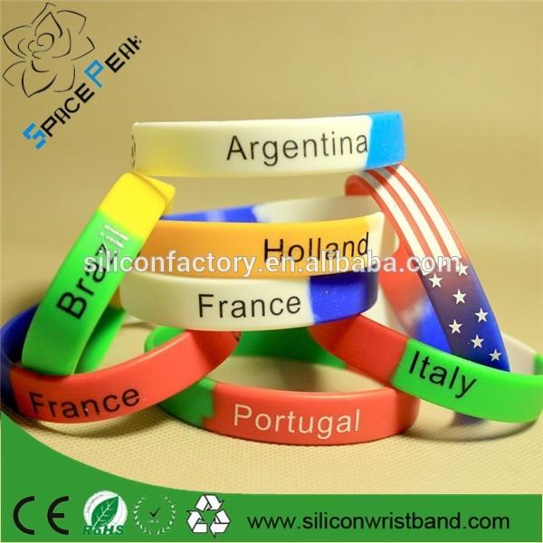 Haute qualité 2016 olympique de silice silicone poignet Bracelets avec différente drapeau du pays de conception