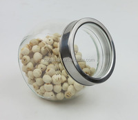 700ml Clear Slanted Glass Jar with Stainless Steel Lid, Glass Cookie Jar with lid