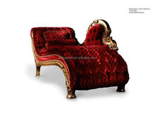 Luxury red antique design chaise lounge Wood frame tufted chaise lounge European belle sofa