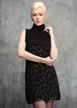 Señora suéter cuello tortuga vestido de otoño de verano- n-005