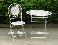 Folding antique white iron foldable garden table