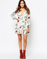 Wrap Mini Dress with Blouson Sleeve in Floral Print Rajasthani Dress For Women