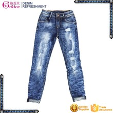Cotton/spandex stretch skinny design blue girls sexy tight jeans pants