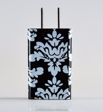 American standard 2 pins wall plug 2.1AMP USB mobile charger with water transfer printing pattern