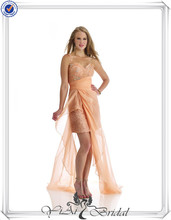 QQ584 Peach short one shoulder sample cocktail dresses pictures with long train