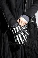 2015 man fashion balck gothic leather skeleton gloves